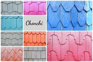 Una muestra de las fachadas de las casas de Chonchi
