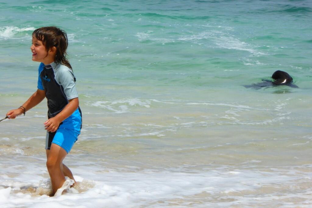Jana jugando junto a un lobito en la playa